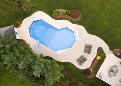 Large house and property from aerial shot, high above. Panoramic view